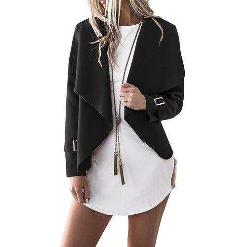 3126a425e6fa MAGIMODAC Womens Waterfall Blazer Knitted Long Sleeve Outwear Jumper Casual  Tunic Tops Open Cardigan Size 8