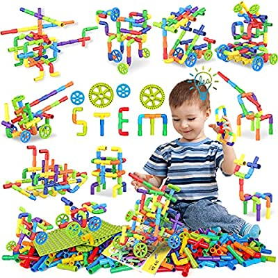 354 Pcs STEM Building Blocks Set Toy For Kid, Pipe Tube Sensory Toys with Wheels, Baseplate, Interlocking Storage Box, Kids Construction Building Blocks Educational Toy Gift For Toddler Boy Girl Child by EP EXERCISE N PLAY
