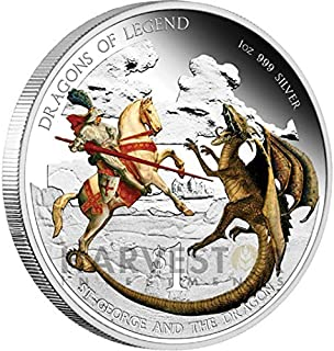 2012 Tuvalu Dragons of Legend Series - St. George and the Dragon $1 Brilliant Uncirculated
