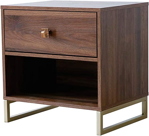 Roomfitters Side Table End Table Night Stand With Drawer Walnut And Gold Legs