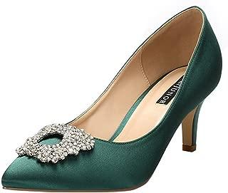 ERIJUNOR Women's Pumps Low Heel Rhinestone Brooch Satin Evening Dress Wedding Shoes