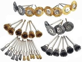 Breynet 36Pcs Brass Steel Rotary Tool Wire Brush Polishing Wheels Brush Set Kit for Dremel Rotary Tools