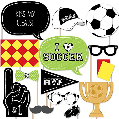 Big Dot of Happiness Goaaal - Soccer Photo Booth Props Kit - 20 Count