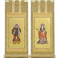 仏縁堂ブランド:国産掛軸・もくらん金本紙日蓮宗・脇2枚セット・20代