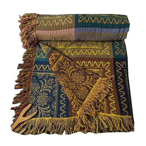 Manta de gasa de cinco capas de algodón hilado teñido sofá manta borla decoración americana manta 200*230cm