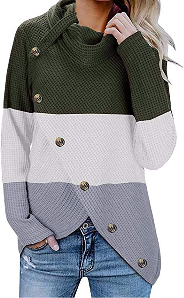 TOTOD Women Solid Button Tops Cowl Neck Sweatshirt Ladies Casual Knitted Pullover Long Sleeve Loose Tunic Short Sweater