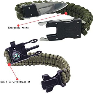 Survival Bracelets,Multinational Outdoor Emergency Paracord Bracelet,Flint Fire Starter, Compass Emergency Whistle & Knife, Scraper, Rescue Rope,The Ultimate Tactical Survival Gear