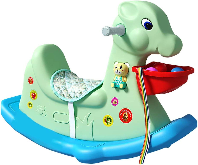Schaukelpferd HUYP Baby Spielzeug Kinder Musik Kunststoff 1-3 Jahre Alt Geschenk Verdickung Schaukelstuhl Auto (Farbe   Grün)