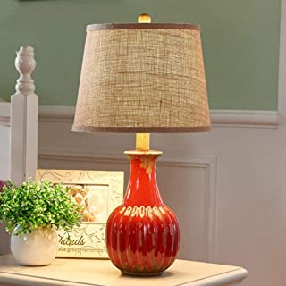 Lámpara de mesa pequeña retro americana Lámpara de cerámica de cabecera de dormitorio europeo Lámpara de mesa minimalista ...