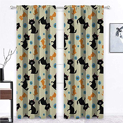 Cats Blackout Curtains/Drapes Domestic Animals Pattern with Orange and Black Cats Fishes in Bubbles Cartoon Style for Dining Patio Sliding Glass Door Window Decor - 60' x 108' , 2 Rod Pocket Panels