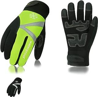 Vgo 2双入 -20℃ or -20℃ 以上に 3M C100 冬用 合成革 タッチパネル 裏綿付 防水 厚手 作業用グローブ 防寒作業革手袋(L,Black+Green/組,SL8777FW)