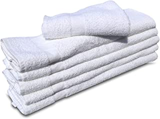 6 NEW WHITE 22X44 100% COTTON ECONOMY BATH TOWELS