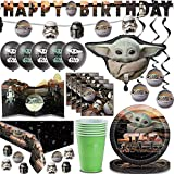 "Baby Yoda Party Supplies for 16 - Plates, Napkins, Cups, Foil Baby Yoda Balloon, ""Happy Birthday"" Banner, Mando Banner, StarWars Balloons, Table Cover & Centerpiece, Confetti, Hanging Swirl Decorations"