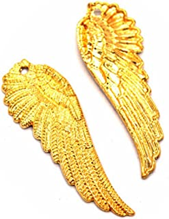 5 PCS Angel Wing Charms Pendants Detailed Wings, Bronze, silver, gold