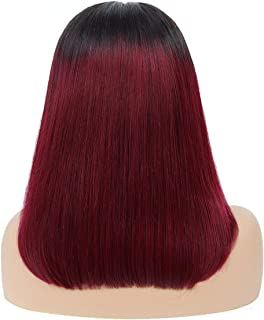 Pink Gray Color Lace Front Human Hair Wig Lace Front Wig Remy Malaysian Straight Wigs T1B/Blue/27 99J T1B/613,T1B-99J,8Inches,13X4 Frontal Wigs