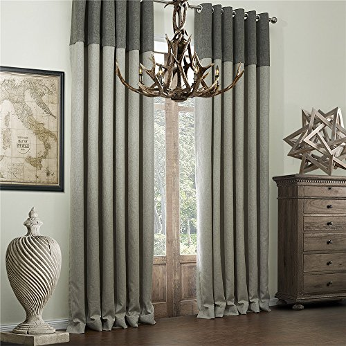 """IYUEGO Classic Bamboo Fiber Faux Room Darkening Grommet Top Curtain Draperies with Multi Size Custom 50"""" W x 102"""" L (One Panel)"""