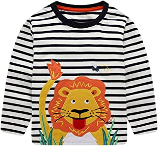 Toddler Boy's Long Sleeve Tees Cotton Cute Cartoon T Shirt Crewneck Tops