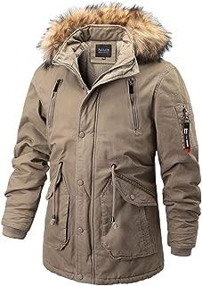 Coats for Men with Fur Hood Zipper Winter Warm Fashion Medium Long Sherpa Lined Thicker Cotton Parka Jacket Coat 3XL