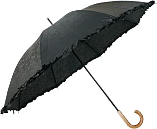 弘懋 TANPOPO 木目調日傘フリル(UV)晴雨兼用 53234