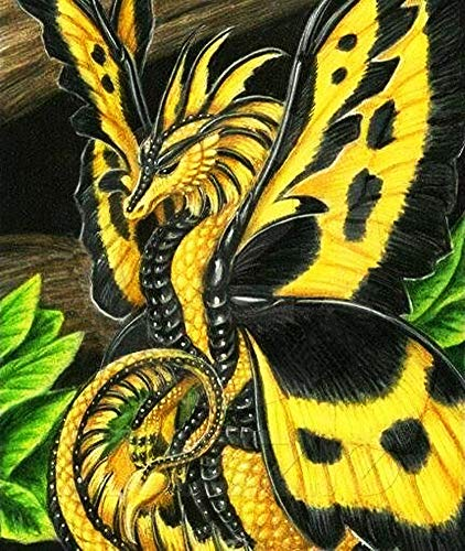 DIY Handwork Store 5D Yellow Dragon Diamond Painting Kits for Adults Kids Full Round with AB Drills Cross Stitch Mosaic Making Arts Crafts Handcrafts Home Decor(13.78''x 15.75'')