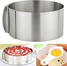 Adjustable Retractable Cake Ring Set, 6 to 12 Inch Stainless Steel Circle Round Mousse Tiramisu Mold with 1PC Egg White Separator 1PC Cake Edge Smoother Decorating Scraper Cutter(3 IN 1)