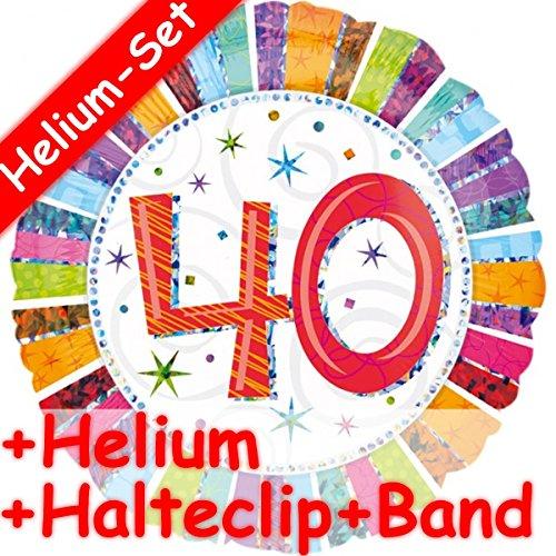 Folieballonset * ZAHL 40 + Helium vulling + houder clip + band * voor 40.verjaardag of party // gevuld met ballongas // decoratieve folie ballon luchtballon helium veertig jaar