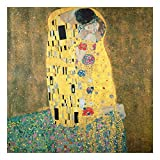 Bilderwelten Glasbild Echtglas Wandbild - Gustav Klimt - Der Kuß 50 x 50cm