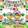 WERNNSAI ファーム誕生日パーティー用品 - バーンヤード動物パーティーデコレーション キッズ誕生日バナーバルーン テーブルクロス プレート カップ ナプキン スプーン フォーク カトラリー キッチン用品 16人用 153個