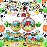 WERNNSAI Suministros para Fiesta de Cumpleaños de Granja - Decoraciones de Fiesta de Casa de Campo para Niños Cumpleaños Pancartas Globos Manteles Platos Servilletas Tazas Sirve 16 Invitados 153PCS