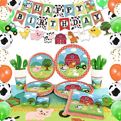 WERNNSAI Farm Birthday Party Supplies - Barnyard Animals Party Decorations for Kids Birthday Banner Balloons Tablecloth Plates Cups Napkins Spoons Forks Cutlery Utensils Serves 16 Guests 153PCS
