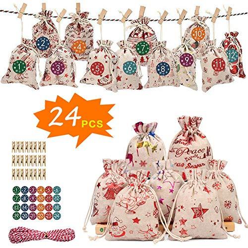 Bolsas de regalo de Navidad de 24 días Calendario Adviento,Sacos chocolate dulce,Bolsas yute calendario cuenta regresiva,Bolsa tela artesanal para fiestas navideñas Bolsas regalo Navidad Decoraciones