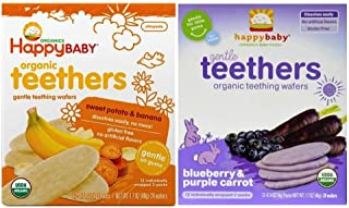 Happy Baby Organic Teethers 2 Flavor Bundle: (1) Sweet Potato & Banana Teething Wafers, and (1) Blueberry & Purple Carrot Teething Wafers, 1.7 Oz