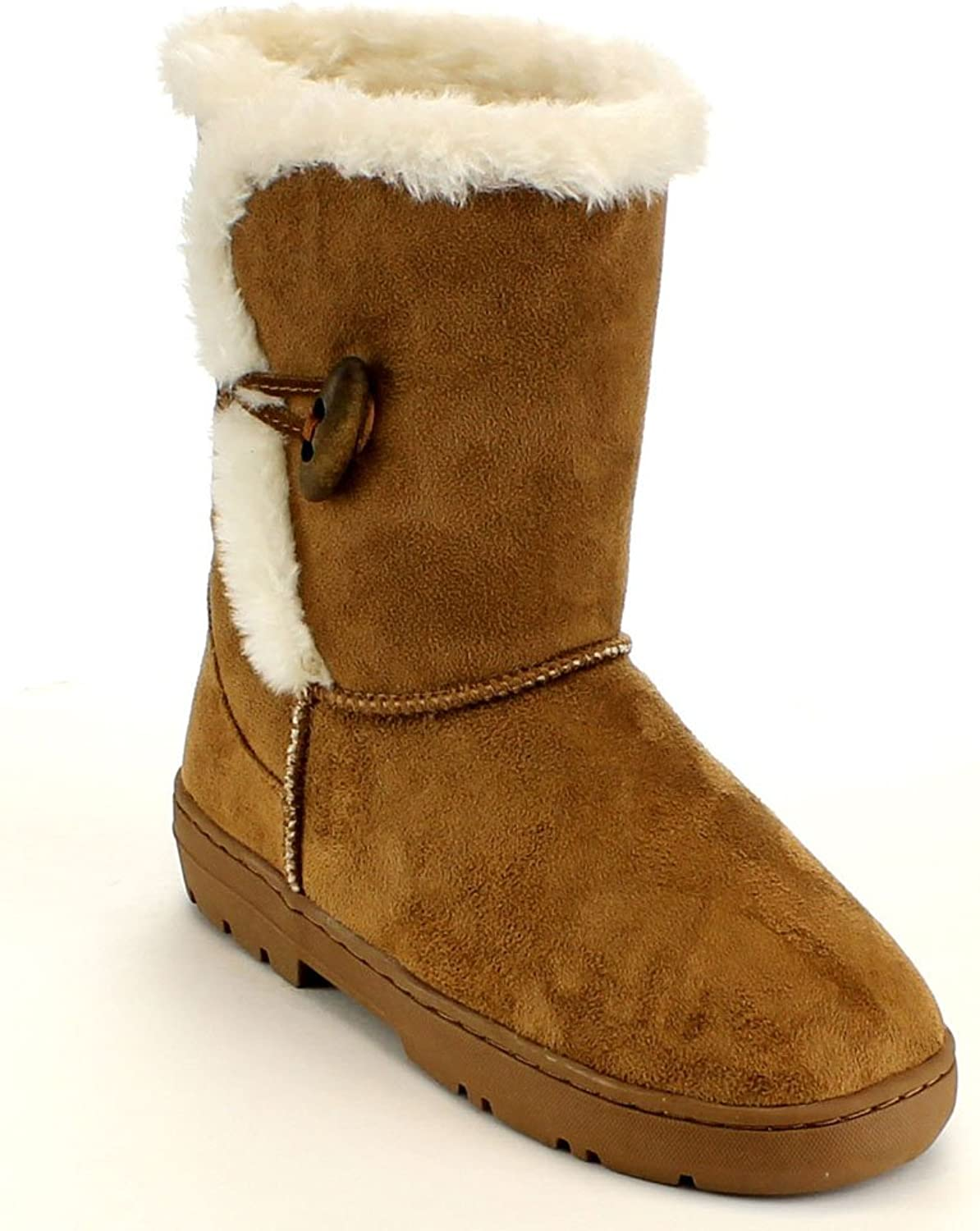 Mark and Maddux Womens Jeff-02 Round Toe Synthetic Fur Collar Mid-Calf Winter Boot