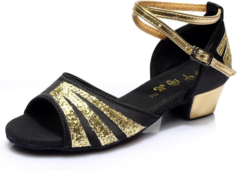BYLE Leder Sandalen Riemchen Samba Modern Modern Modern Jazz Dance Schuhe Latein Schuhe Frauen Niedrig Ferse Weichen Boden Gold 0e1