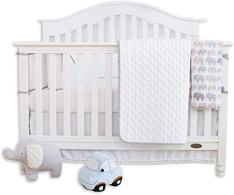 TILLYOU 5 Pieces Soft Crib Bedding Set Crib Bumper Quilt 2pcs Crib Sheets Crib Skirt Herringbone Jacquard Microfiber Toddler Bed Set Unisex Nursery Baby Bedding Set