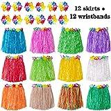 jollylife 12PCS Hawaiian Luau Hula Skirts + 12PCS Wristbands -...