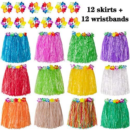jollylife 8PCS Hawaiian Luau Hula Skirts - Grass Hibiscus Flowers Birthday Tropical Party Decorations Favors Supplies