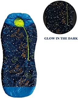 AceCamp Kids Glow-in-The-Dark Sleeping Bag with Compression Sack Blue Purple Mummy Style 30F/ -1C Head Bundle Bottom Seal Enclosed Pocket for Boys Girls-Best Gifts for Christmas New Year or Birthday