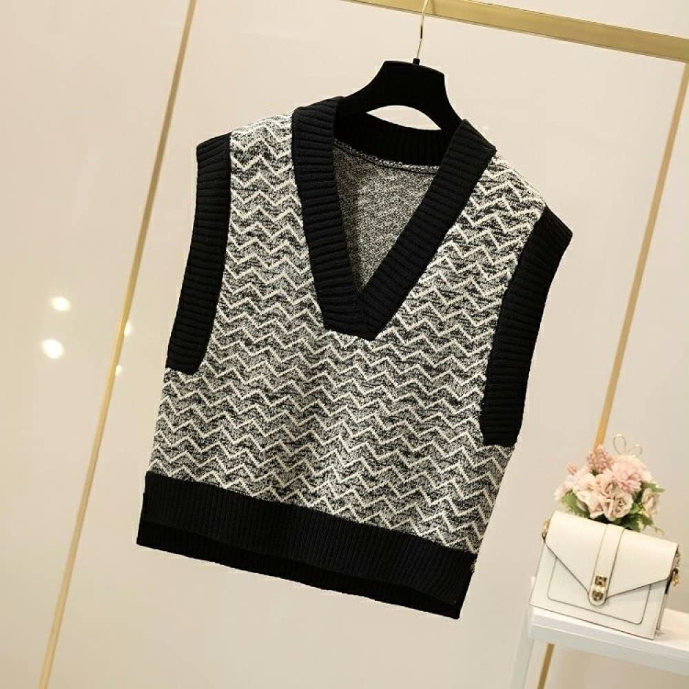 Sweater Vest Women,Womens Sleeveless Sweater Vest Retro Ripple V Neck Knitted Cami Sweater Pullovers Preppy Style Casual Loose Knitted Tank Top Autumn Winter ,Black,One Size