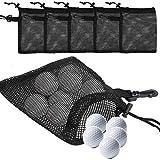 TOBWOLF - 5 bolsas de malla para pelotas de golf, ligeras y