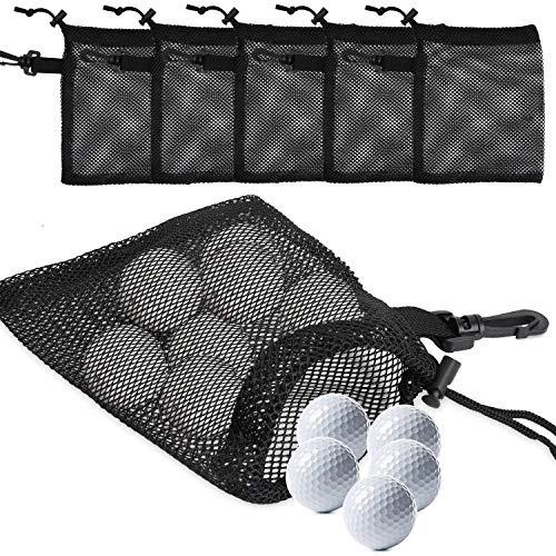 TOBWOLF - 5 bolsas de malla para pelotas de golf, ligeras y portátiles, con cierre de cordón deslizante, cierre de cordón y bucle para pelota de golf, pelota de tenis