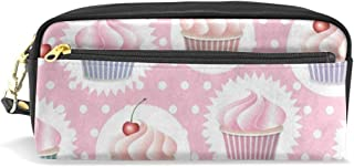 Pencil Pouch Colorful Cupcake Cherry Fruit Polka Dot Pen Case Zipit Cute School Makeup Cosmetic Bag Organizer Holder