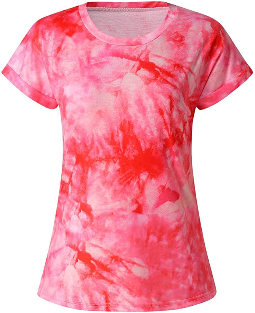 Aukbays Tops for Women Womens Summer O-Neck T-Shirt Gradient Printed Pullover Blouses Short Sleeve Shirt Tunic Top