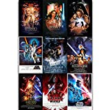 Star Wars Episode 1-9 Poster HD Print Canvas Decorative Art Collection Boy Bedroom Living Room Dormitory Wall Decoration Poster Xirokey (Canvas roll,16x24 inch)