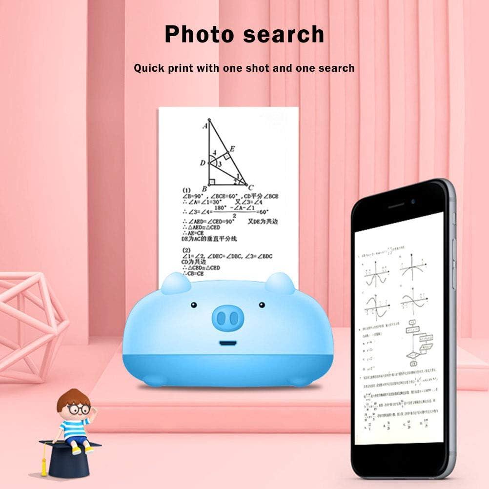 imprimante photo instantan/ée rechargeable USB Mini imprimante thermique portable sans fil Bluetooth avec 11 rouleaux de papier dimpression Rose compatible avec tous les smartphones