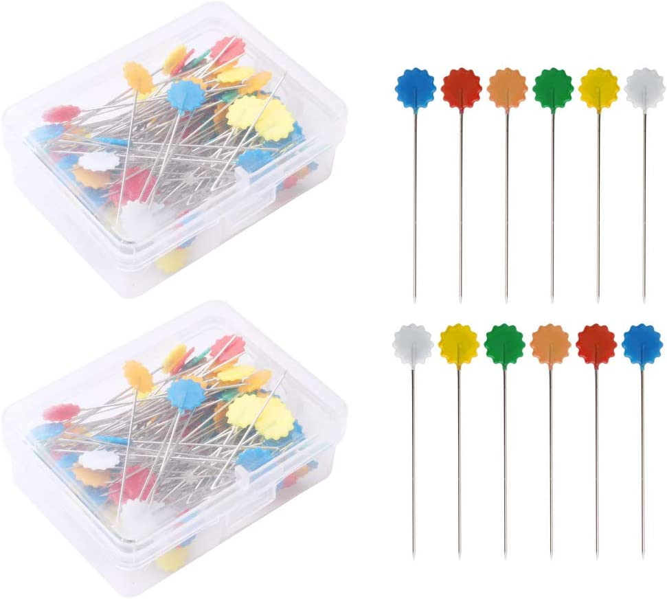 Garosa 300pcs Blossom Pins Stainless Steel Sewing Patchwork Needle Multi-Color Fixed Position Quilting DIY Tool Accessories for Sewing Button