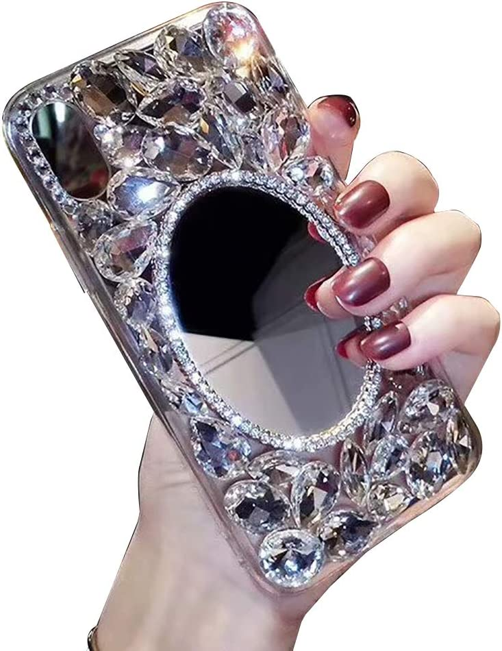 Makeup Mirror Case for Samsung Galaxy S8, LCHDA Bling Glitter Clear Crystal Full Diamonds Luxury Sparkle Transparent Rhinestone Bumper Protective Cover for Woman Girls with Screen Protector