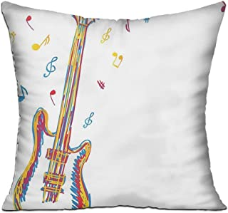 tgyew Music Doodle Style Illustration of Guitar Instrument with Musical Notes Hand Drawn Art Full Blue