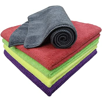 SOFTSPUN Microfiber Cloth - 5 pcs - 40x40 cms - 340 GSM Multi-Color - Thick Lint & Streak-Free Multipurpose Cloths - Automotive Microfibre Towels for Car Bike Cleaning Polishing Washing & Detailing