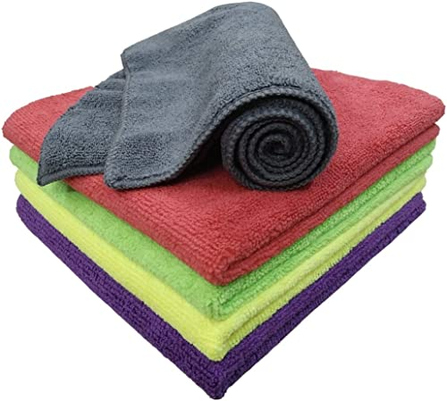 SOFTSPUN Microfiber Cloth - 5 pcs - 40x40 cms - 340 GSM Multi-Color - Thick Lint & Streak-Free Multipurpose Cloths - ...